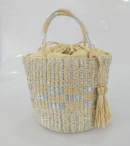 Modern Cylindrical Straw Bag - Hooking Hands