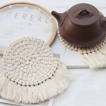 Load image into Gallery viewer, Round Weave Macrame Tassel Coaster