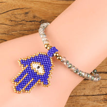 Load image into Gallery viewer, Seed Beads Evil Eye/Hamsa Bracelet