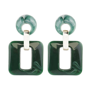 Acrylic Square Dangle Earrings