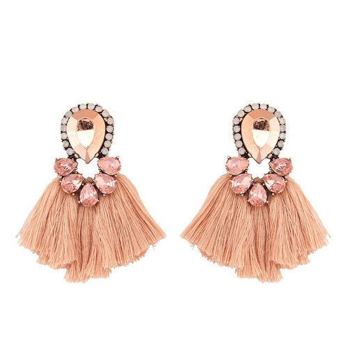 Crystal Short Tassel Earrings