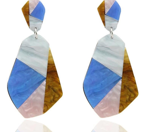 Color Block Acrylic Drop Earrings