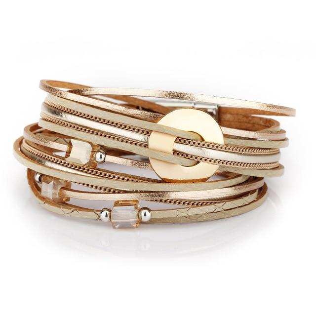 Metal Charms Leather Bracelet