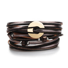 Load image into Gallery viewer, Metal Charms Leather Bracelet