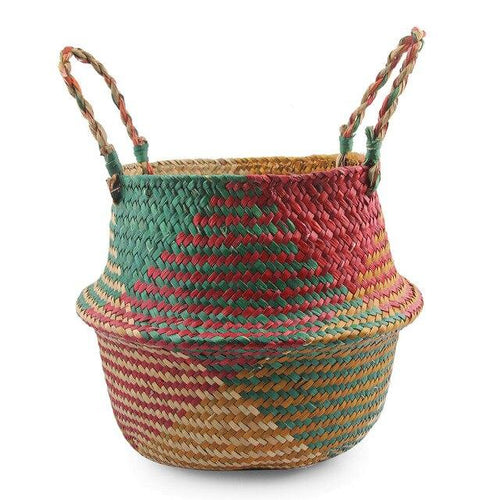 Foldable Woven Straw Storage Basket