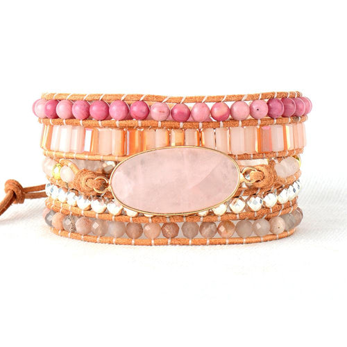 Pink Stone Leather Wrap Bracelet