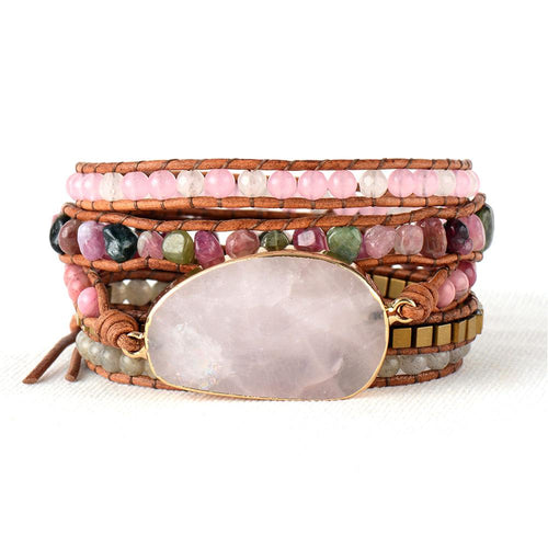 Light Pink Leather Wrap Bracelet