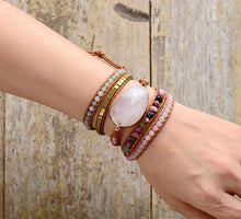 Load image into Gallery viewer, Light Pink Leather Wrap Bracelet