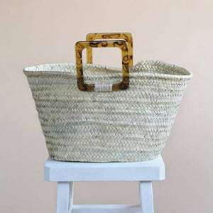 Mela Moroccan Palm Basket Bag