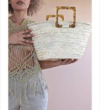 Load image into Gallery viewer, Mela Moroccan Palm Basket Bag