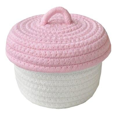 Knitted Cotton Storage Bin with Lid