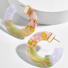 Load image into Gallery viewer, Multicolor Acrylic Round Earrings