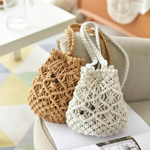 Rita Woven Drawstring Bucket Bag