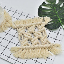 Load image into Gallery viewer, Hand-Woven Macrame Tapestry Coasters