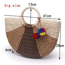 Load image into Gallery viewer, Semi-Circle Summer Straw Bag