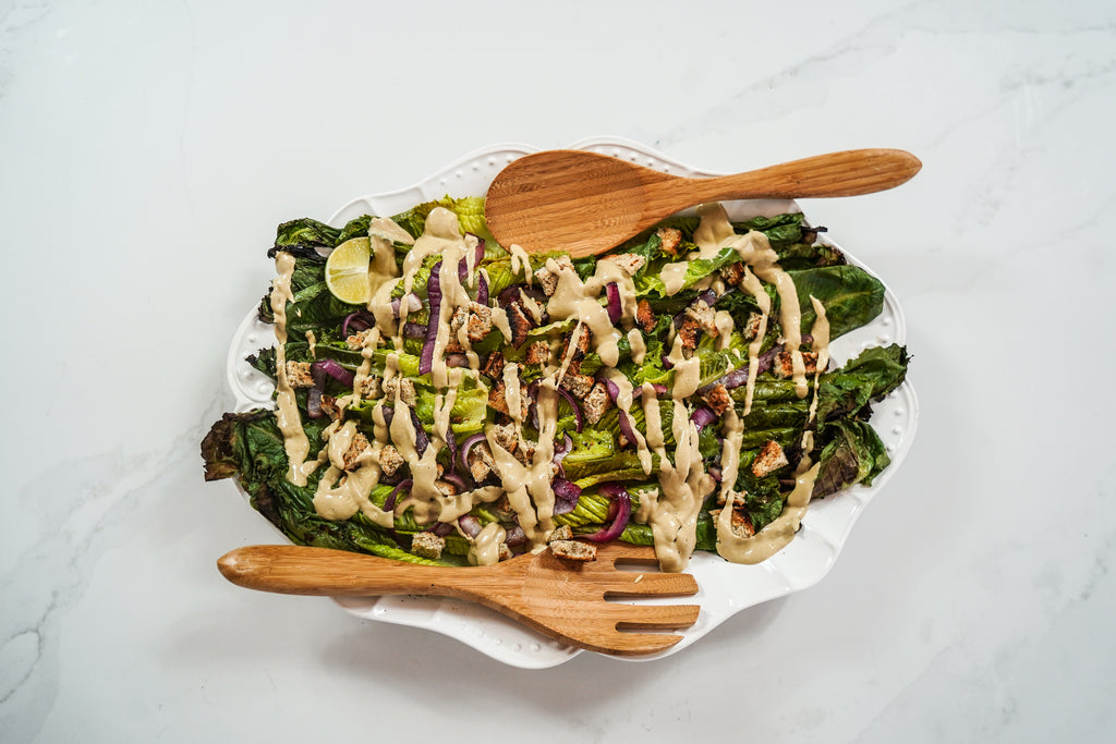 Grilled romaine vegan césar