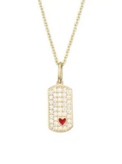 Sydney Evan 14K Yellow Gold & Red Heart Dog Tag Pendant Necklace