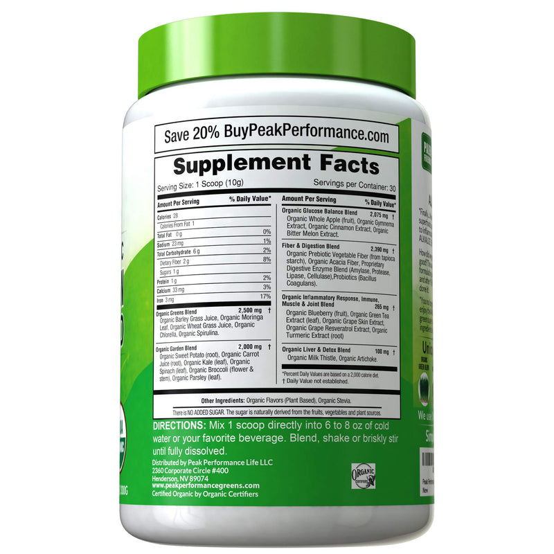 Peak Performance Organic Greens Superfood Powder 7