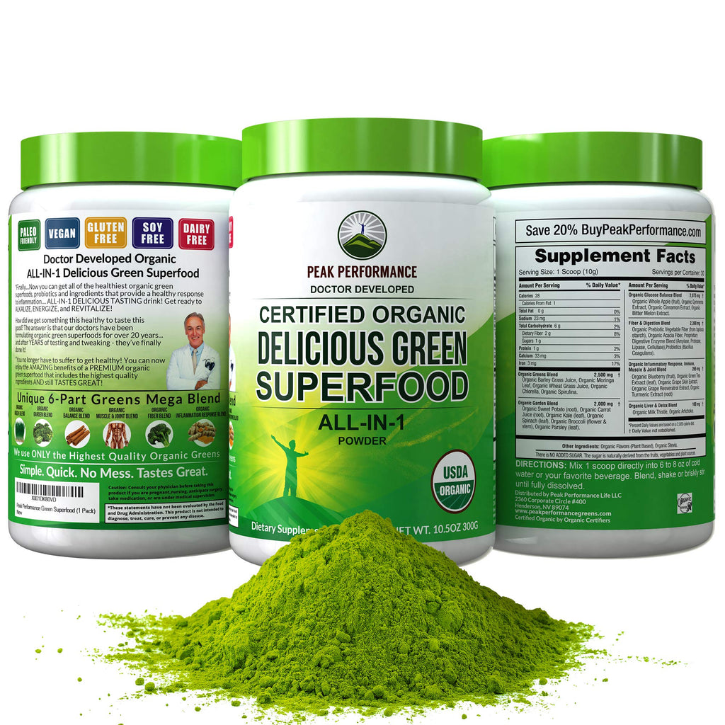 Peak Performance Organic Greens Superfood Powder 1