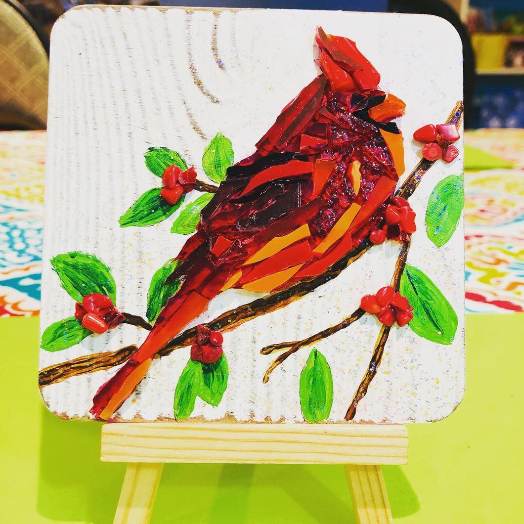Mosaic Red Cardinal with Berries - Mini