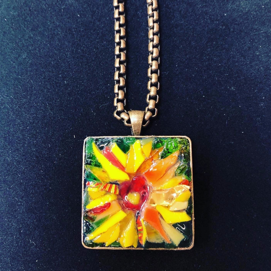 Square Sunflower Mosaic Jewelry