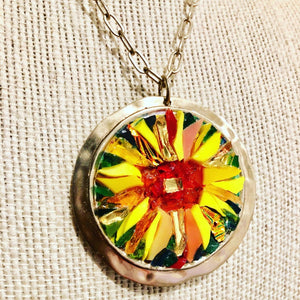 Round Sunflower Mosaic Jewelry