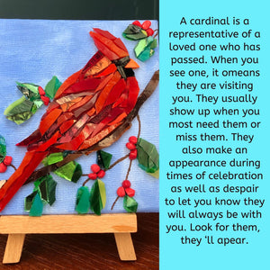 Mosaic Cardinal - Blue Background- Mini