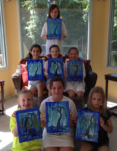 weeping willow tree acrylic painting private home kids party.  Group parties/classes in your home, country club, clubhouse in the Chester county pa area. We do all the work, you pick your designs, you paint.