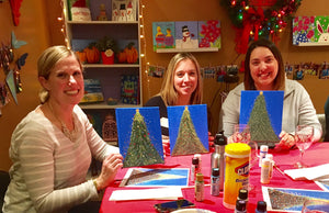 Christmas trees - Take a group class in our West chester Pa studio. You pick the design we do all the work. Cost vary based on products used.