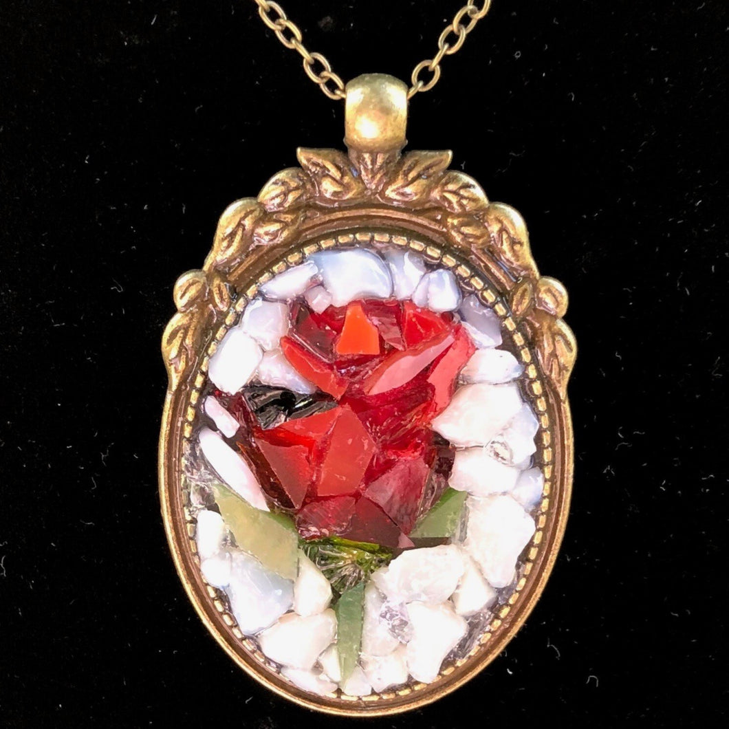 Vintage Red Rose Mosaic Jewelry