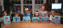 Load image into Gallery viewer, Sea life, mermaids, sharks acrylic painting private home kids party.  Group parties/classes in your home, country club, clubhouse in the Chester county pa area. We do all the work, you pick your designs, you paint.