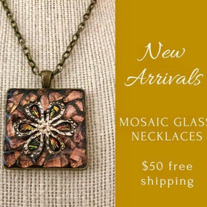 Copper Glass Flower Mosaic Jewelry