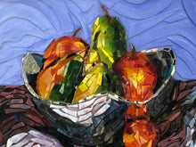 Load image into Gallery viewer, Mosaic Glass painting of a bowl of fruit in a silver bowl. Colors are reds and greens of the fruit which sharply contrast with the silver bowl and the dark cloth. Each piece of glass is hand cut and adhered to the canvas using acrylic paint and Liquitex Heavy Gloss gel medium. The vivd blue background makes the fruit stand out.