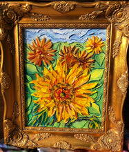 Load image into Gallery viewer, mosaic glass sunflower radiant yellows oranges and reds capture the beauty of a sunflower