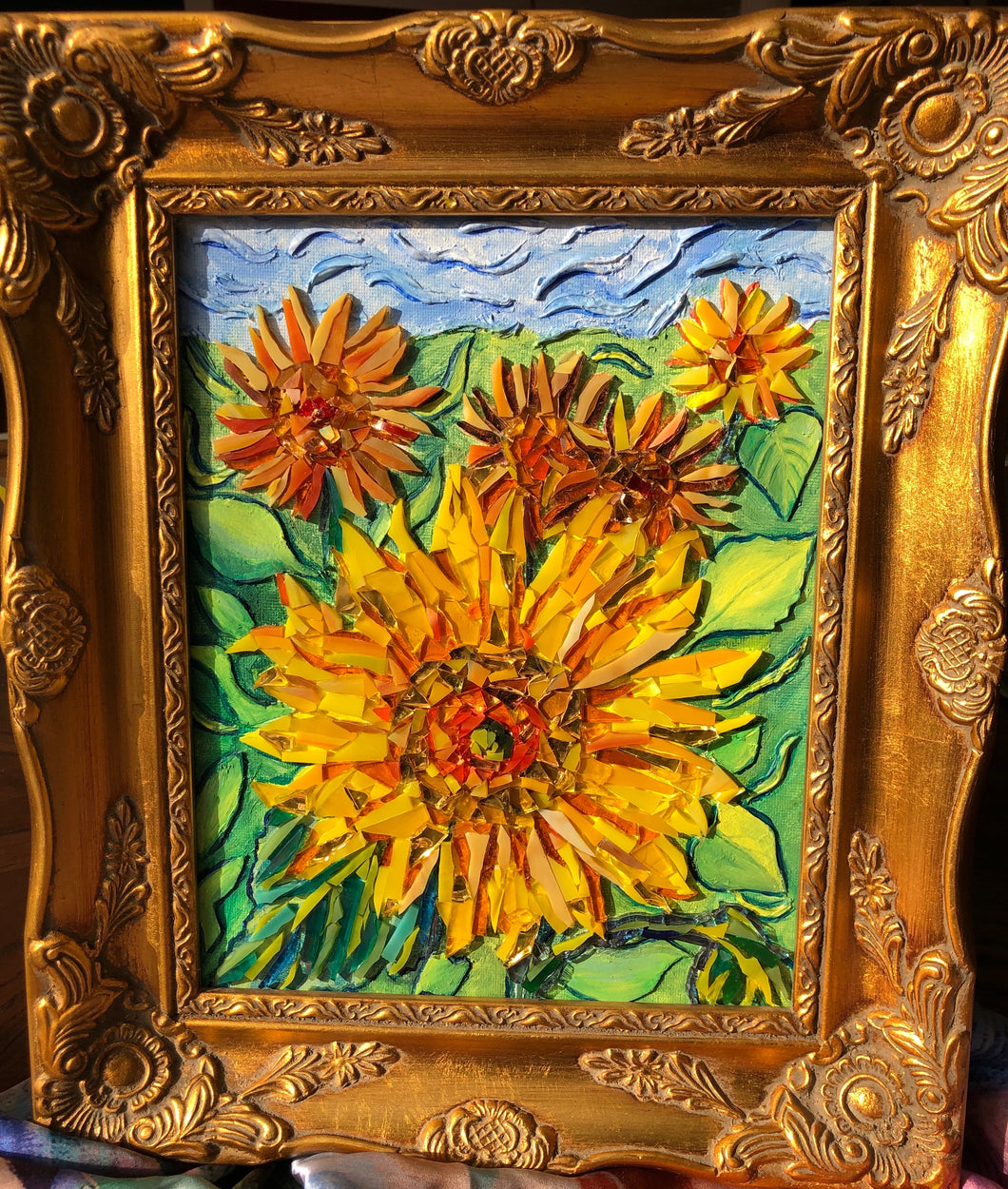 mosaic glass sunflower radiant yellows oranges and reds capture the beauty of a sunflower