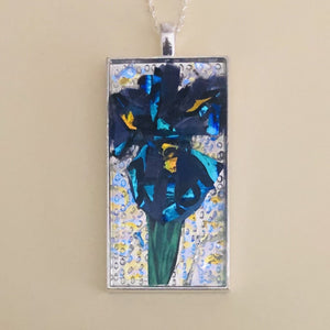 Blue Iris mosaic glass silver necklace