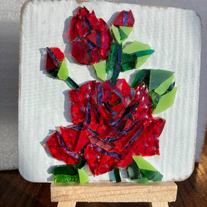 red rose mini mosaic glass painting with easel