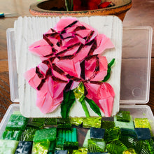 Load image into Gallery viewer, Pink mosaic glass rose 4x4""