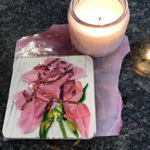 "Pink mosaic glass rose 4x4"" with pink candle"