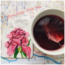 "Load image into Gallery viewer, Pink mosaic glass rose 4x4"" with pink tea"