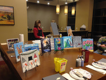 Load image into Gallery viewer, Chad dwell apartments clubhouse paint night exton Pa 19341.  Group parties/classes in your home, country club, clubhouse in the Chester county pa area. We do all the work, you pick your designs, you paint.