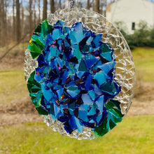 "Load image into Gallery viewer, 2.5"" Blue Hydrangea  Mosaic Sun Catcher"