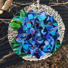 "Load image into Gallery viewer, 4.5"" Blue Hydrangea  Mosaic Sun Catcher"