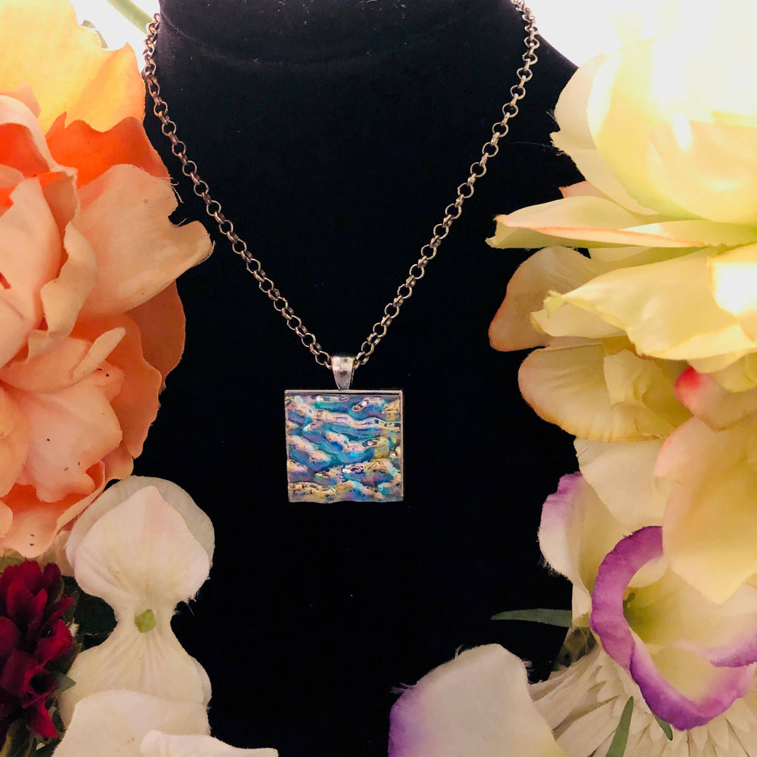 Ocean waves mosaic glass on a silver necklace