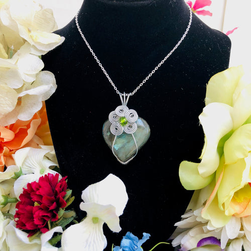 Green Labradorite Heart Stone Jewelry
