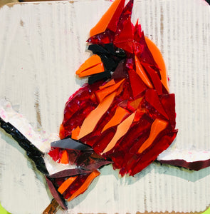 red cardinal mosaic glass on a 4x4 mini canvas