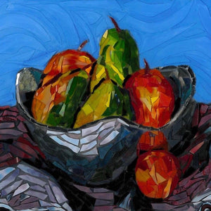 Mosaic Glass painting of a bowl of fruit in a silver bowl. Colors are reds and greens of the fruit which sharply contrast with the silver bowl and the dark cloth. Each piece of glass is hand cut and adhered to the canvas using acrylic paint and Liquitex Heavy Gloss gel medium. The vivd blue background makes the fruit stand out.