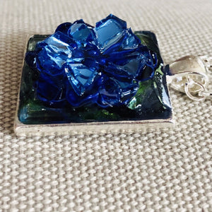 Royal Blue Flower Necklace Mosaic Jewelry
