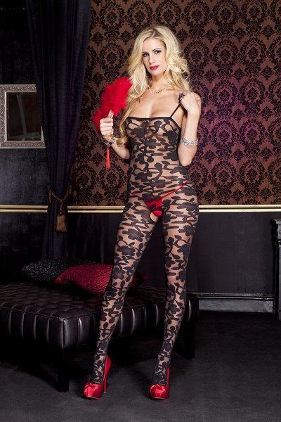 Black Spandex Sheer Floral Bodystocking - One Size Available