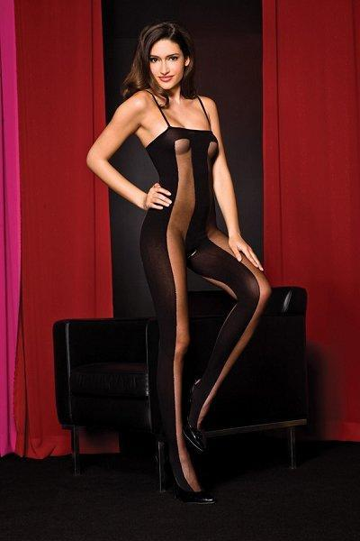 Black Vertical Stripe Bodystocking - One Size Available